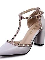 Damen-High Heels-Lässig-Lackleder-Stöckelabsatz-Absätze / Komfort-Weiß / Grau