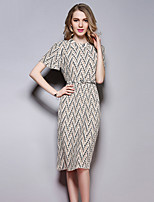 Women's Going out Street chic Sheath Dress,Print Round Neck Above Knee Short Sleeve Brown Polyester Summer