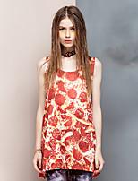 Heart Soul® Women's Round Neck Sleeveless T Shirt Orange-26AD21985