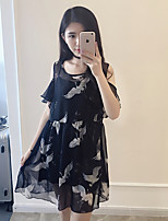 Women's Casual/Daily / Sports / Plus Size Street chic Loose Dress,Animal Print Round Neck Above Knee Short Sleeve Black Rayon SummerMid