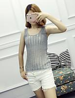 Women's Casual/Daily Simple Regular Cardigan,Solid Round Neck Sleeveless Cotton Summer Medium