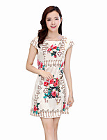 Women's Plus Size / Casual/Daily Vintage Loose Dress,Floral Round Neck Above Knee Short Sleeve White Polyester Summer