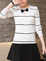 Women's Casual/Daily Simple / Street chic Regular Pullover,Striped White / Black Round Neck Long Sleeve Acrylic