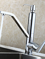 Contemporary Kitchen Faucet , with Chrome Polished Single Handle One Hole Centerset / Rotatable