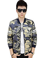 Men's Long Sleeve Casual / Work / Formal / Sport / Plus Sizes Jacket,Cotton Camouflage Blue / Yellow