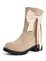 Damen-Stiefel-Kleid-Kunstleder-Blockabsatz-Modische Stiefel-Schwarz / Beige