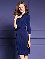 Women's Going out Street chic Bodycon Dress,Striped V Neck Knee-length ¾ Sleeve Blue / Black / Green Polyester Fall