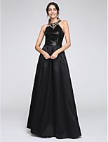 TS Couture® Formal Evening Dress A-line Jewel Floor-length Satin / Sequined with Beading / Sequins