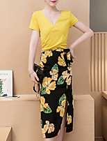 Women's Casual/Daily Street chic All Seasons T-shirt Skirt,Floral V Neck Short Sleeve Yellow Cotton Medium