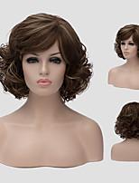 peluca de color marrón oscuro europa y los estados unidos nuevas pelucas sintéticas diaria mullido pelo corto