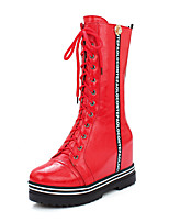 Women's Shoes Winter Riding Boots / Combat Boots / Round Toe Boots Dress / Casual Platform Lace-upBlack / Red / White /