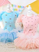Dog Dress Blue / Pink Winter / Spring/Fall Floral / Botanical Fashion / Birthday, Dog Clothes / Dog Clothing