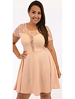 Women's Plus Size / /Daily Simple A  Dress,Patchwork Round Neck Above Knee Short Sleeve Pink / Black Cotton Summer
