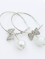 Earring Circle Jewelry Women Fashion Wedding / Party / Daily / Casual / Sports Alloy / Imitation Pearl / Rhinestone / Silver Plated 1 pair