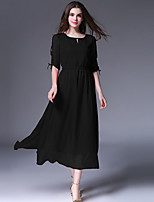Women's Plus Size / Casual/Daily Simple Chiffon Dress,Solid Round Neck Midi ½ Length Sleeve Red / Black Polyester Summer