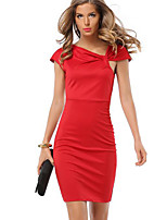 Women's Plus Size / Casual/Daily Simple Ruched Temperament Slim Sheath Dress,Solid Asymmetrical Above Knee Short Sleeve