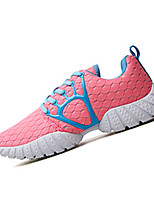 Women's Shoes PU / Tulle Spring / Fall Comfort Sneakers Athletic Flat Heel Lace-up Black / Pink / White