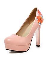 Women's Heels Summer / Fall Heels / Round Toe PU Office & Career / Casual Chunky Heel Split Joint Black / Pink /