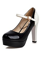 Women's Heels Summer / Fall Heels / Round Toe Patent Leather Office & Career / Casual Chunky Heel BuckleBlack / Blue /