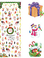 1 pcs Nail Art Water Transfer Christmas Sticker Colorful Happy Christmas Image Nail Decoration HOT194