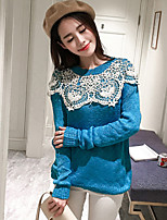 Women's Going out Cute Regular Pullover,Patchwork Blue Round Neck Long Sleeve Cotton / Acrylic Fall Thick