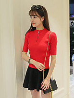 Damen Standard Pullover-Ausgehen Einfach Solide Rot / Weiß / Schwarz Rundhalsausschnitt ½ Länge Ärmel Baumwolle Herbst / Winter Mittel