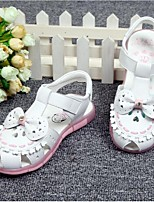 Girl's Sandals Spring / Summer Sandals Leather Outdoor / Casual Flat Heel Bowknot Pink / White Others