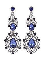 Vintage Luxury Hollow Geometric Blue White Crystal Water Drop Earrings Long Dangle Earrings For Women Statement Jewelry