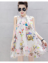 Maternity Casual/Daily Simple Loose Dress,Print Crew Neck Above Knee Sleeveless White Polyester Summer