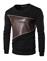 Men's Solid Casual T-Shirt,Cotton Long Sleeve-Black / Gray