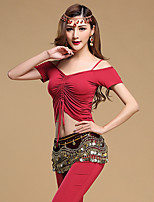 Belly Dance Outfits Women's Performance Modal Gold Coins / Draped 3 Pieces Black / Light Purple / Burgundy Short Sleeve