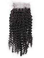 8inch to 20inch Черный Изготовлено вручную Kinky Curly Человеческие волосы закрытие Умеренно-коричневый Швейцарское кружево about 30g