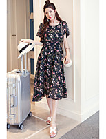 Women's Casual/Daily / Plus Size Simple Sheath Dress,Floral Round Neck Midi Short Sleeve Blue Rayon Summer Mid Rise Inelastic