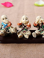 Three Resin Chinese Zen Monk Crafts Ornaments
