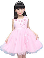 Girl's Casual/Daily Solid DressPolyester Summer Pink / White / Beige