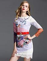 Viva Vena® Damen Rundhalsausschnitt 3/4 Ärmel Wadenlänge Kleid-VA88242