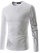 Men's Print Casual T-Shirt,Cotton Long Sleeve-Black / Blue / Red / White