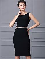 Baoyan® Damen Rundhalsausschnitt Ärmellos Über dem Knie Kleid-160346