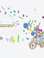 Romance Flower Bike Living Room Wall Stickers Fashion DIY Family Bedroom Wall Decals
