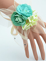 Wedding Flowers Hand-tied Roses Wrist Corsages Wedding Green Polyester / Tulle / Rhinestone