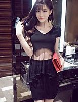 GLITTER  Going out / Casual/Daily/ Vintage / Sophisticated Summer T-shirt Skirt,Solid Round Neck Short Sleeve Black