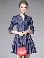 AFOLD® Women's V Neck 3/4 Length Sleeve Mini Dress-C6046