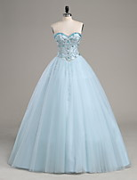 A-line Wedding Dress Floor-length Strapless Satin / Tulle with Beading