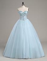 A-라인 웨딩 드레스 바닥 길이 끈없는 스타일 새틴 / 튤 와 비즈