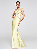 TS Couture® Formal Evening Dress Trumpet / Mermaid One Shoulder Sweep / Brush Train Jersey with Beading / Lace