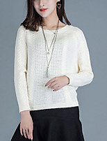 Women's Casual/Daily Street chic Short Pullover,Solid Pink / Beige / Gray Round Neck Long Sleeve Acrylic Fall Medium