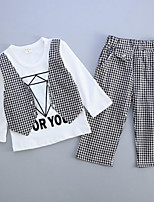 Boy's Casual/Daily Check Pants / Vest / Clothing Set,Cotton Spring / Fall Red / White