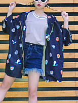 Women's Going out / Casual/Daily Simple Cloak/Capes,Print Hooded Long Sleeve Summer Blue Polyester Thin