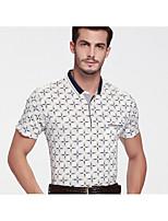 Men's Short Sleeve Polo,Cotton Plus Size Plaid