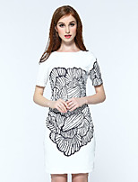 Boutique S Women's Casual/Daily Vintage Shift Dress,Print Round Neck Above Knee Short Sleeve White Polyester Summer